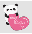 Kawaii panda baby bear Happy Valentines Day text vector image vector image