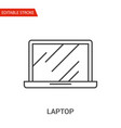 laptop icon thin line vector image vector image