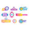 last chance limited offer icons set isolated on vector image vector image