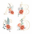 letters a b c d with flowers decoration vector image