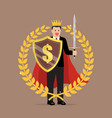 man with shield sword and golden wreath vector image vector image