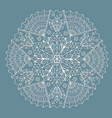 mandala or white tracery napkin on a turquoise vector image vector image