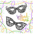 mardi gras carnival mask on white background vector image vector image