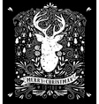 Merry Christmas poster with reindeer vector image vector image