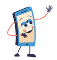mobile phone or smartphone cartoon character vector image
