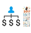 Money Collector Icon With 2017 Year Bonus Symbols vector image vector image