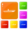motor speed boat icons set color vector image vector image