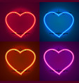 neon frame sign in the shape of a heart vector image vector image