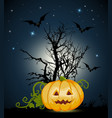 orange halloween pumpkin and silhouette of tree vector image vector image