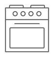 oven thin line icon home and appliance stove vector image vector image