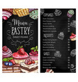 pastry and dessert chalkboard menu template vector image vector image