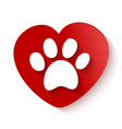 paw print over heart shape vector image vector image