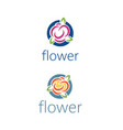 set abstract template logo design with flower vector image