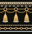 set collection golden metallic chain borders vector image vector image