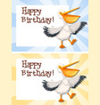 set of pelican on birthday template vector image vector image