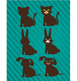 set of silhouettes of domestic animals in two styl vector image
