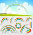 set transparent realistic rainbows vector image vector image