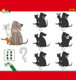 shadow activity game with dog group vector image vector image
