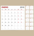 spanish calendar 2019 vector image vector image