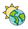 sun and earth cartoon vector image