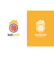 sushi and real estate logo combination vector image