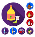 types of alcohol flat icons in set collection for vector image vector image