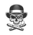 vintage monochrome gentleman skull vector image vector image