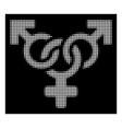 white halftone polyandry icon vector image vector image