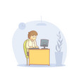 young man working with laptop computer cartoon vector image vector image