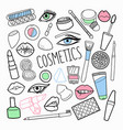 cosmetics make-up hand drawn elements set vector image