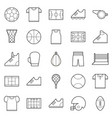 black thin line sport icons set vector image