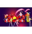 2021 new year card kids decorate christmas tree vector image