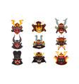 ancient samurai warrior war masks set symbols of vector image vector image