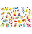 baby toy set a variety children toys cute vector image vector image