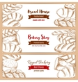 Bakery shop and bread house sketch banners set vector image vector image
