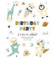 birthday invitation cosmic card with cute animals vector image