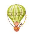 cheerful ape character on board air balloon