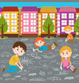 children draw on asphalt vector image vector image