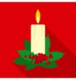Christmas Candle in Flat Style with Long Shadows vector image