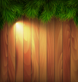 Christmas Tree Pine Branches with Light on Wooden vector image vector image