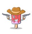 cowboy ice cream character cartoon vector image vector image
