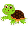 cute baby turtle cartoon walking vector image vector image