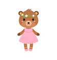 cute bear in dress in modern flat style vector image vector image