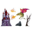 dragon breath with fire old castle tree and rock vector image