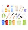 eco goods flat icon set vector image