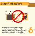 electrical safety simple art poster vector image