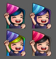 emotion icons happy party female vector image vector image