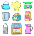 equipment kitchen colorful doodle style vector image vector image