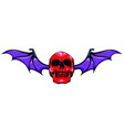 fanged skull with bat wings black and white vector image vector image