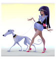 Fashion woman with dog walking on the street vector image vector image